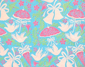 Vintage MOD Wedding - Bridal Shower - Gift Wrap - Wrapping Paper - DOVES and BELLS - 1960s
