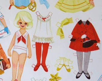 Vintage Hallmark GIRL Birthday  - Gift Wrap - Wrapping Paper - PAPER DOLLS - Partial Sheet - 1960s 1970s