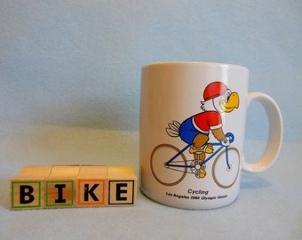 Mint Condition 1984 Summer OLYMPICS ~ CYCLING ~ Olympic Cup/ Mug ~  Bike ~ USA Olympic Games Los Angeles, California ~ Sam the Olympic Eagle