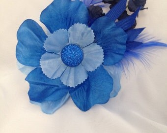 Fun and Frivolous Blue Floral & Feather Hair Accessory