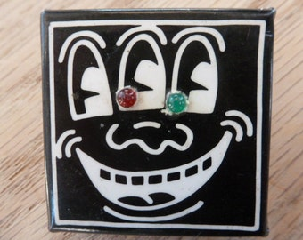 Keith Haring flashing eyes vintage pin--collector's item (half sale price for AIDS charity)