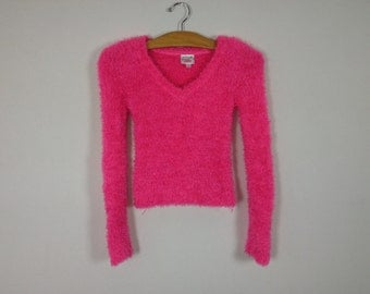 90s pink fuzzy top size XS/S