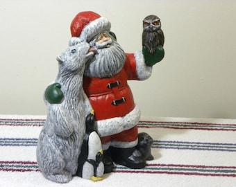 "Santa Claus Saint Nick Artic Winter Friends Christmas Holiday Gift Polar bear Penquins Owl Seal Ceramic Santa, Indiana USA Made, 9.50"" Tall"