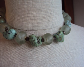 Natural Turquoise and Beach Glass with Lime Green Citrine and small Brass beads Chunky Statement Choker Artisan Boho Necklace