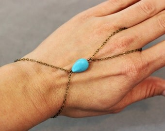 Turquoise Hand Chain - Turquoise and Antique Brass Slave Bracelet - Turquoise and Antiqued Slave Bracelet