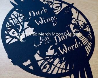 Crow Personal use 'Dark Wings' Papercut TEMPLATE .PDF download, raven, corvid