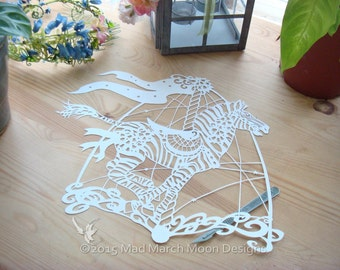papercut template commercial use Bluebell the Carousel Zebra Papercut pattern TEMPLATE .PDF instant download
