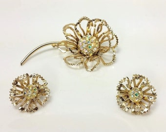 """Vintage Sarah Coventry Floral Brooch & Clip-on Earrings, """"Allusion"""" Set, 1968 Jewelry, Aurora Borealis Rhinestones. Signed"""