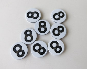 Number 8 eight buttons 1/2 inch, 8 buttons