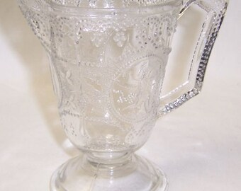 Boston Sandwich Glass MINERVA aka ROMAN MEDALLION Cream Pitcher or Footed Creamer