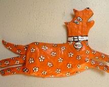Hand Sculptured Paper Mache Dog -Orange with White Flowers