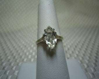 Marquise Cut  White Topaz Ring in Sterling Silver