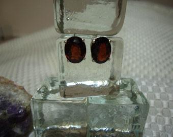 Oval Cut Garnet Earrings in Sterling Silver  #1368
