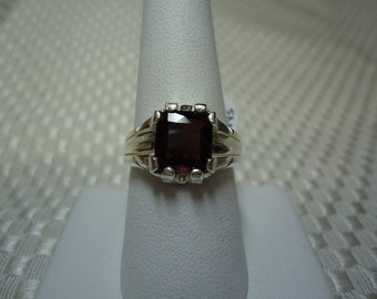 Emerald Cut Garnet Ring in Sterling Silver
