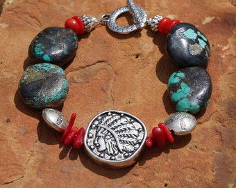 Natural Turquoise and Coral Bracelet, Indian Head, Southwestern, Western