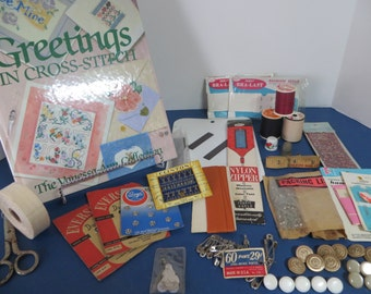 Greetings in Cross-Stitch Book and Vintage Sewing Notions