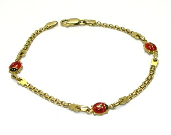 "14k Enamel Lady Bug Bracelet - Solid 14k Yellow Gold, Black and Red Enamel - 7"" Long - Weight 3.5 Grams # 4015"