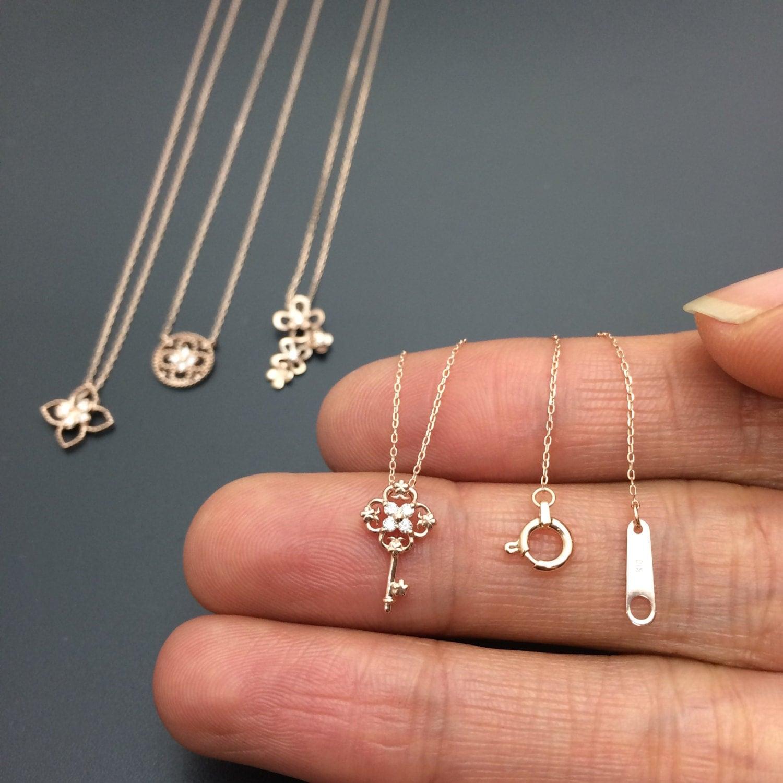 diamond key pendant dainty diamond necklace solid gold. Black Bedroom Furniture Sets. Home Design Ideas
