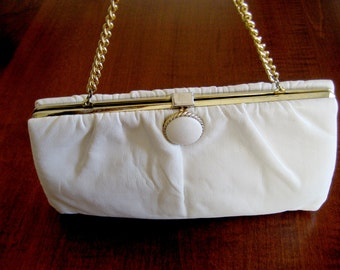 White Leather Clutch - Vintage Leather Convertible Purse Clutch - Classic Cream Leather Purse Handbag Clutch