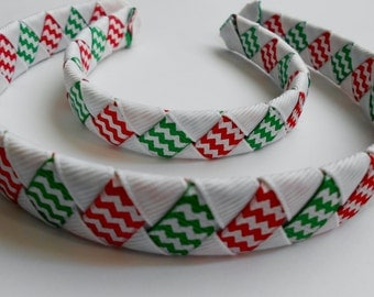 DEAL of The DAY Christmas Chevron Woven Headband for American Girl Doll and Me
