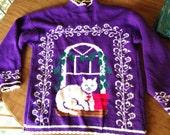 Awesome purple cat / kitten sweater - vintage sweater