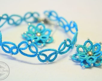 SALE! One-color tatted set with 3-D flower earrings and bracelet