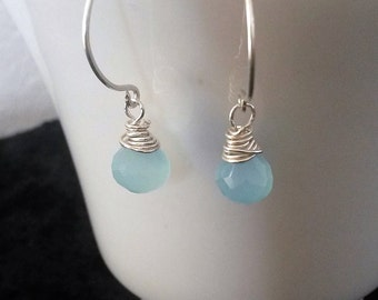 Kind of Blue Earrings.  Luminous and sparkling, faceted chalcedony top-drilled onion briolettes in baby blue on sterling silver.