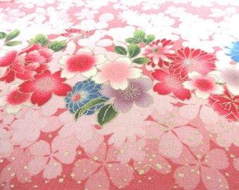 Japanese Traditional Fabric QUILT GATE Cherry Blossoms Border Pink FQ