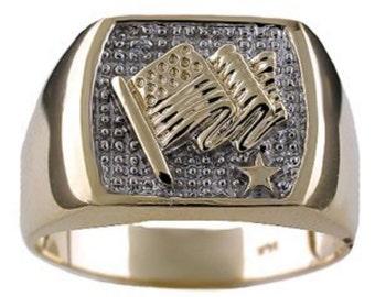 Mens US Flag Diamond Ring 14K Yellow Gold or 14K White Gold