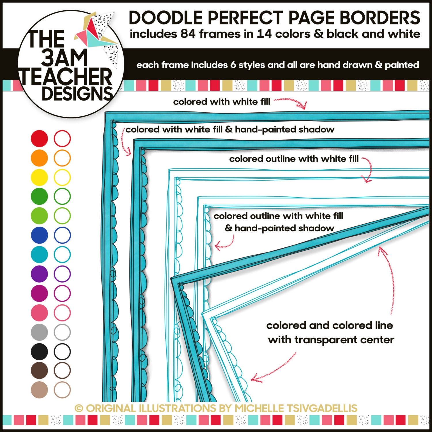 clip art 84 colorful doodle page borders from the3amteacher on