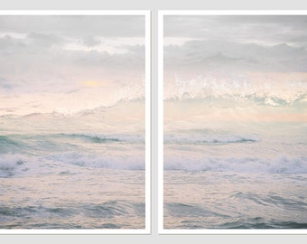 Pastel pink wall art set of 2 prints, ocean waves photography, sea large wall art posters, oversized bedroom art, 11x14, 16x20, 12x12 print