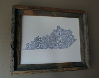 Lexington Kentucky College Town - University of Kentucky - Word Map (White & Blue) - Unframed