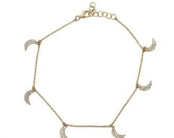 Beautiful Diamond Gold Moon Anklet BXSC55001654