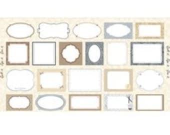Quilt Labels Panel on Ecru Neutrals - REDUCED