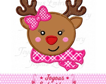 Instant Download Christmas Reindeer Baby For Girls Embroidery Applique Design NO:1644