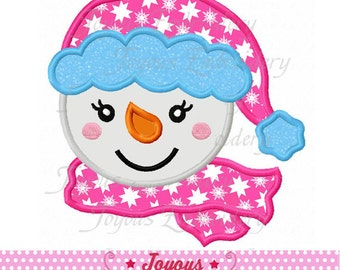 Instant Download Christmas Snowman Face For Girls Applique Embroidery Design NO:1652