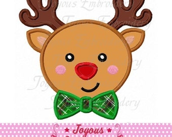 Instant Download Christmas Reindeer With Bow Tie Applique Embroidery Design NO:1656