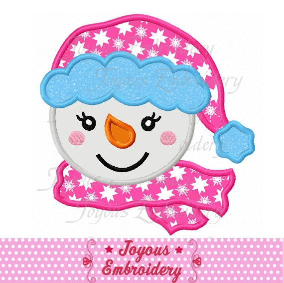 ... Christmas Snowman Face For Girls Applique Embroidery Design NO:1652