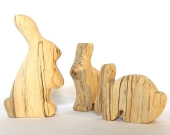 Easter Bunny Family, Wooden Animals, Wooden Rabbits