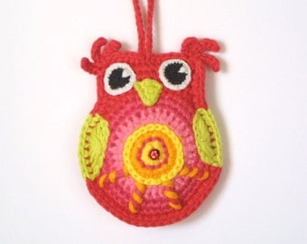 Crochet Owl Pattern, Instant Download, Colorful Owl, Ornament, Christmas, Happy Owl, PDF pattern
