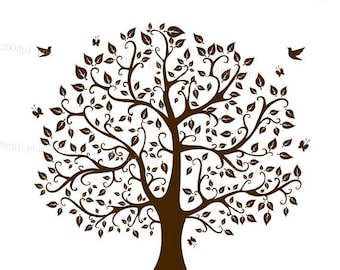 Tree silhouette digital clipart vector eps  png files Clip Art Images Instant Download