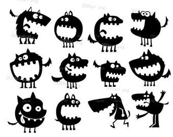 Monster silhouette digital clipart vector eps png  files black Clip Art Images Instant Download