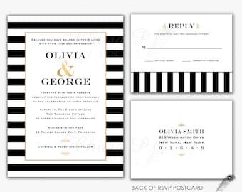 Black U0026 White Wedding Invitations With RSVP Postcards   Printed, Gold  Striped Engagement Art Deco