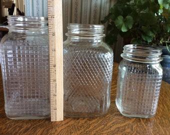 Vintage Waffle-Sided Jars Lot of Three