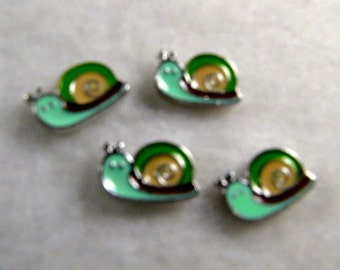 Green and yellow Snail Floating Charm
