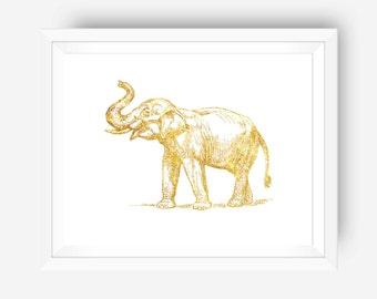 SUMMER SALE gold foil print inspirational print wall art print - gold elephant