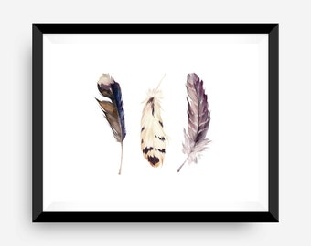 water color feather wall print art print rustic art print - feather trio