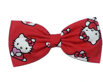 Valentine Hello Kitty Hair Bow, Red Hello Kitty Bow, Valentines Day Gift for Her, Hello Kitty Gift For Her