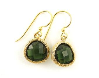 Olive Green Earrings, Olive Green Gold Teardrop Earrings, Erinite Earrings, Faceted Stone Gold Dangle Earrings Gold Framed Earrings |PG2-2