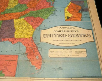 Vintage 1920s Us Map Hammond S Comprehensive Map Of The United States